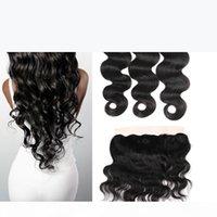 8A MICK Перуанская девственница человеческие волосы волосы волна волос с кружевной лобной закрытием 3 пучка с 13x4 ухо до ушей кружева фронтальные ткани волосы