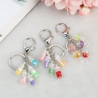 Keychains 1PC Multicolorn Glass Wishing Bottle And Resin Wine Keychain With Sequin Handbag Keyring Charms For Woman