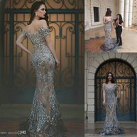 2017 New Luxury Formal Dresses Evening Wear Off Shoulder Mermaid Backless Embroidery Beading Long Arabic Prom Party Pageant Gowns