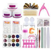 Nail Art Kits 1 conjunto 12 cores pó ferramenta dicas escova manicure kit maquiagem acessórios fou99