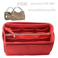 Para gracioso PM mm, alma-mm, artsy-mm, 3 mm de feltro organizador de bolsas (com saco de zíper médio) bolsa inserir saco no saco maquiagem cosmética 210402
