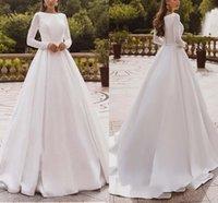Elegant Satin A-Line Wedding Dresses Long Sleeve Bride Gowns Muslim Applique Lace Covered Back Vestido de novia
