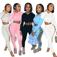 Women's Two Piece Pants Autumn Winter Tracksuit Gym Outfits Sexy Crop Top Jogger Hoodie Suit Women Set Fall