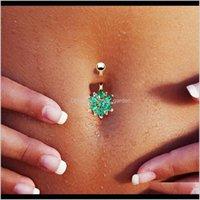 Çan Yüzükler 316L Paslanmaz Çelik Yeşil Çiçek Kristal Barlar Altın Göbek Düğmesi Yüzük Göbek Piercing Takı Imkfn XXoft