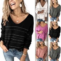 Autumn Winter 2021 Womens Sweaters Solid Color Knit Shirt Casual Stripe V-neck Top Women