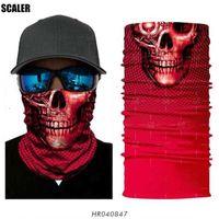 Designer Masks 3D Seamless Red Skull Tube Magic Scarf Fishing Jokers Skeleton Outdoors Balaclava Headwears Fish Hook Cycling Headband Ski Ba 3WDV