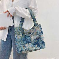 Big Handbag Korean Simple Literature And Art Handbag Leisure Large Capacity Canvas Bag Net Red Fashion Pure Color Washing Shoulder Bags