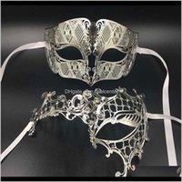 Suministros festivos Inicio Jardín Drop Entrega 2021 Gnhyll Lover Woman Mask Mask Sier Metal Pareja Venecia Masquerade Máscaras Oro Bola Boda