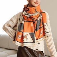 Scarves Winter Horse Plaid Cashmere Scarf High Quality Women's Tassel Luxury Pashmina Shawls Bufandas Invierno Mujer Blanket