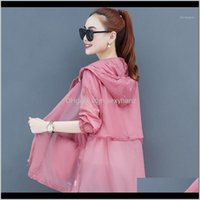 Womens Trench Coats Fall Cardigan Sun Shirt Coat Hooded Short Tops Fashion Women Anti Uv Transparent Protection Clothe1 Vylsu Rbfls