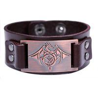Charm Bracelets European And American Fashion Leather Handmade Pterosaur Metal Bracelet
