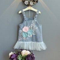 Детская одежда Девушки джинсовые кружева подвеска платье детей цветы слинг ковбой принцесса платья мода летняя бутик детская одежда Z2975