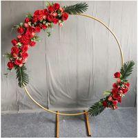 Wedding decor círculo de metal círculo quadro cenário decora casamento arco de ferro forjado decoração diy decoração de festa redondo estante 703 v2