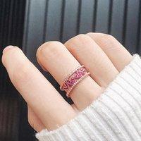 Мода Свадебные Ювелирные Изделия Кольца для Женщин Роскошные Дамы Обручальная партия Вечеринка Творческий Сердце Вырез Crystal Циркокон Кольцо Кольцо