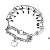 2 사이즈 애완 동물 개 훈련 순종 Choke 체인 조정 가능한 도금 강철 Prong Dog Collare cover HWF8480