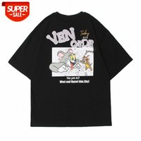 T-shirt à manches courtes de chat et de souris Homme européen européen branché branchée branchée rond coulée Street Street Street tendance vaporée com # pw89