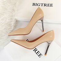 Bigtree 2022 Femme Sexy Bomb Square-Toe Chaussures à talons hauts Toile Stillant Stiletto High Talons