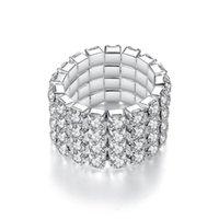 여성을위한 봄 반지 1 ~ 4 행 크리스탈 로즈 골드 실버 컬러 탄성 손가락 반지 선물 패션 쥬얼리 Kar352 클러스터
