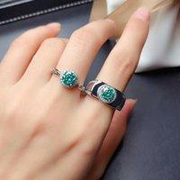 Cluster Rings MeiBaPJ Arrival 1 Glittering Green Moissanite Diamond Fashion Ring For Lovers 925 Sterling Silver Fine Wedding Jewelry