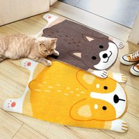 Funny Doormat Cute Cartoon Animal Shiba Inu Corgi Mats Wear-Resistant Anti-Skid Foot Pad Entrance Floor Rug Kitchen Carpet Home 4621 Q2