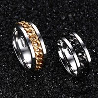 Punk Gold Ring Charm Men Titanium Steel Chain Beer Flesopener Accessories Rvs Rings Rotating Web Friend Poison