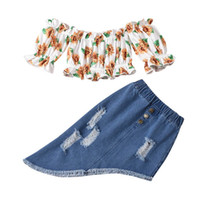 Kids Clothing Sets Girls Outfits Baby Clothes Children Suits Summer Cotton Short Sleeve Tops Blouses Flower Hole Denim Dress 2Pcs B6502
