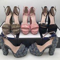 Üst Tasarımcı Sandalet Vintage Baskılı Denim Ayakkabı Tıknaz Platformu Topuk 13 cm Süper Yüksek Topuklu Kadın Sandal Açık Fabrika Ayakkabı Moda Büyük Boy ayakkabı