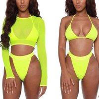 Swimwears 3 Piece Neon Green Bikini Swimsuit Women Sexy Long Sleeve Swimwear High Waist Set Cut Bathing Suit
