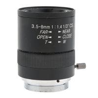 レンズアダプタ搭載3.5-8mm亜焦点CCTVマニュアルアイリスズームマウントフォーマット1/3 '' CCDカメラ産業顕微鏡 - ブラック
