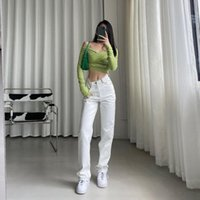 Calça jeans branca da moda coreana para mulheres 2021 Cintura alta Longa Calças de rua Calças de pernas retas Denim Senhoras Feminino Feminino Preto Mulheres