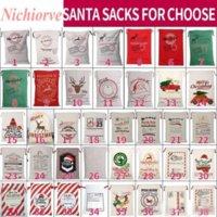 Amerikaanse voorraad Kerstmis Santa Sacks Canvas Katoenen Tassen Grote Organische Zwaar Drawstring Gift Tassen Gepersonaliseerde Festival Feest Kerstdecoratie