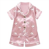 أطفال طفل الفتيات الحرير بيجامة مجموعة تاج السراويل النوم الأطفال الزي الصبي قصيرة الأكمام قمم منامة البدلة الوردي