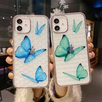 2021 Good Quality Butterfly Mobile Phone Cases For iPhone 13 12 11 Pro Max TPU Electroplate Transparent Shockproof Water Resistant Beautiful Soft Clear Cover Case