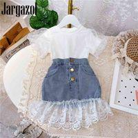 Jargazol moda crianças roupas sleeve sleeve shirtlace denim saia coreano verão meninas roupa conjunto bonito crianças roupas 210225