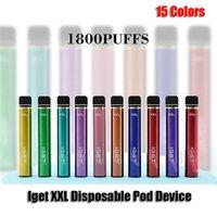 E-Cigarettes Оригинальные Iget XXL одноразовые устройства сигареты 1800 слойки 2,4 мл Предварительно заполненные подружки Vape 950 мАч Аккумуляторное колено