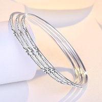 Bangle Trendy 3pcs In One Set Bangles 925 Silver Plated With Star Design Bracelets Jewelry For Men Or Women