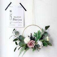 إكليل الزهور الزخرفية خزانة 15 بوصة محاكاة إكليل جارلاند شنقا قلادة للمنزل المطبخ جدار الديكور