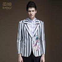 Männer Jacken 2021 Männer Kleidung Haarstylist GD Mode Persönlichkeit Chinesischer Stil Gestreifte Anzug Bühne Performance Plus Size Singer Kostüme