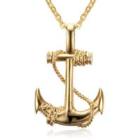 Europe America Fashion Pirate Ships Anchor Men Necklace Personality Alloy Necklaces Pendant Accessories Gift