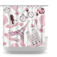 파리 샤워 커튼 핑크 꽃과 에펠 탑 폴리 에스터 프랑스 도시 풍경 방수 욕실 커튼 후크 72x72inch