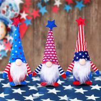 DHL Gemi 50 adet Vatansever Gnome Ünlü Amerikan Bağımsızlık Günü Cüce Bebek 4 Temmuz El Yapımı Peluş Bebekler Süsler FY2605