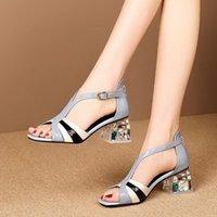 Sandalias de las mujeres, женская сандалия, мягкая кожаный горный хрусталь каблук голубая туфли, лодыжка пряжка летние каблуки, синий, бежевый, одевание одежды