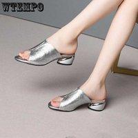 WTEMPO тапочки для женщин 2021 летние новые каблуки сандалии мода серебряное золото PEEP TOE роскошный дизайн ползунки женщины тапочки сандалии G0915
