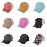 Chapéus de rabo de cavalo 9 cores mulher lavada malha de volta leopardo camo oco bagunçado bolo boné de beisebol chapéu cyz3153