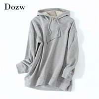 Women's Hoodies & Sweatshirts Gray Color Casual Hooded Women Loose Batwing Long Sleeve Lady Soft Home Style Hoodie Autumn Spring