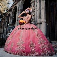 Mexican Pink Quinceanera Dresses Applique Lace Vestidos XV Años Sweet 16 Dress Off the Shoulder robe de soirée