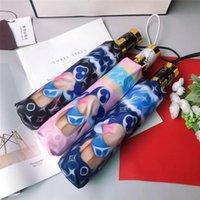 Diseñador de lujo grande a prueba de viento paraguas plegables colorido diseño de moda de tres plegados de 8 ribs decoración para el hogar del regalo creativo suave