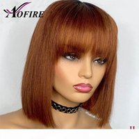 #4 Brown Straight Bob Human Hair Wig Full Lace Wigs Brazilian Remy Hair with Bangs 150 Density For Women Pre Plucked