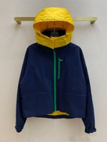 Contrast Trench jacket for Women Autumn 2021 Luxury 3D Cut Long Sleeve Zipper Pocket Loose Hooded Coat Lady
