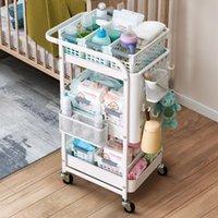 Trolley Rack Salon Amovible Multi fonctionnel Baby Fournitures Chambre à coucher Cuisine Beauté Beauté Storage Poulie Blanc